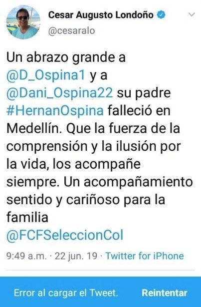 1. Tuit de César Augusto Londoño sobre Hernán Ospina