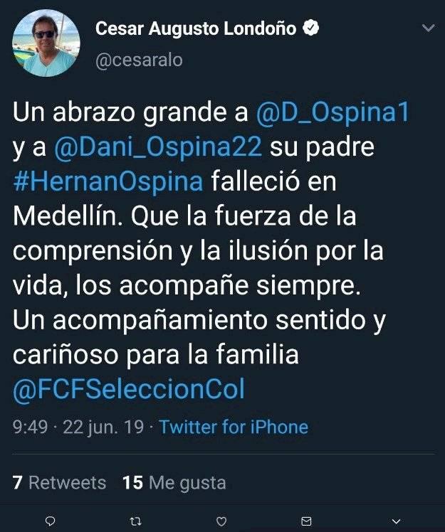 2. Tuit de César Augusto Londoño sobre Hernán Ospina