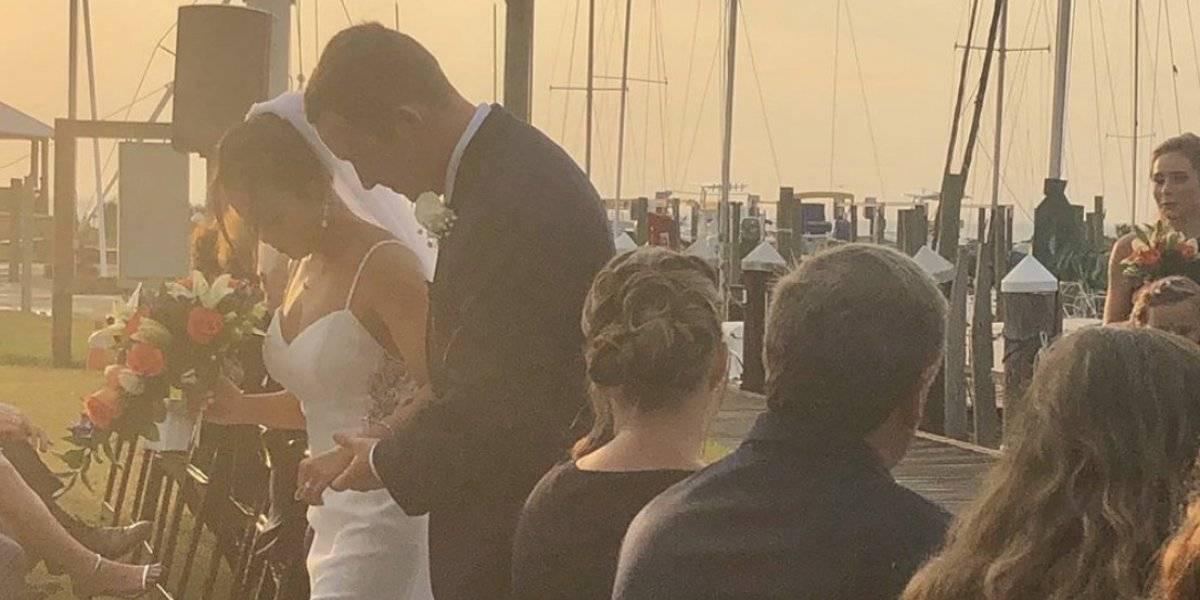 Gimnasta Samantha Cerio cumple ilusión de caminar al altar en su boda