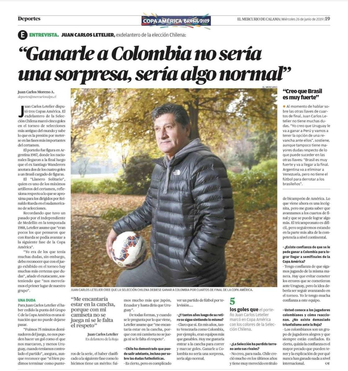 Letelier sobre Colombia VS Chile