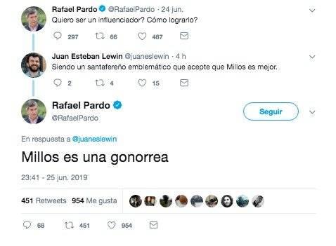 Insulto Rafael Pardo a Millonarios