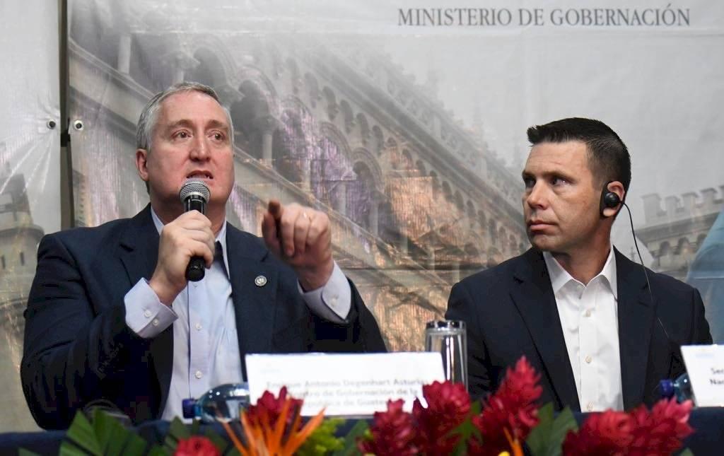 Reunión de ministro de Gobernación, Enrique Degenhart, y secretario de Seguridad de EE. UU., Kevin McAleenan. Foto: Omar Solís