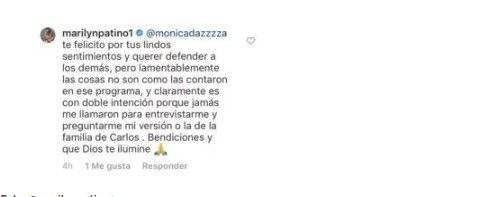 Captura de pantalla Instagram Marilyn Patiño