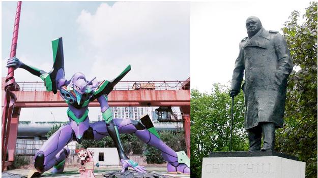 Británicos quieren cambiar estatua de Winston Churchill por un Evangelion