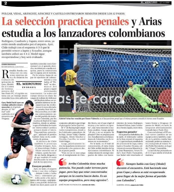Chile entrena penales para jugar contra Colombia