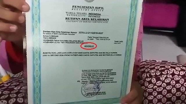 """Insólito: en Indonesia, padres inscriben a su hijo con el nombre """"Google"""""""