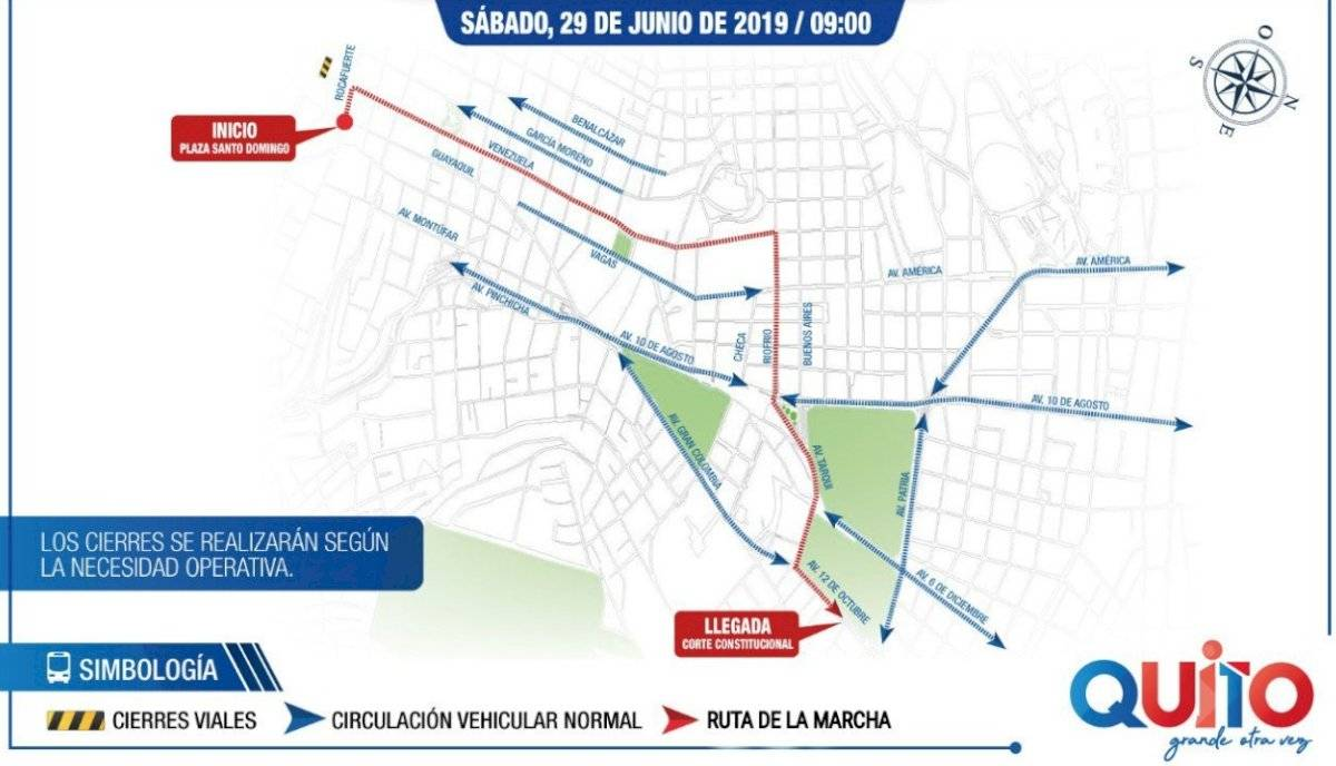 Recorrido marcha civil