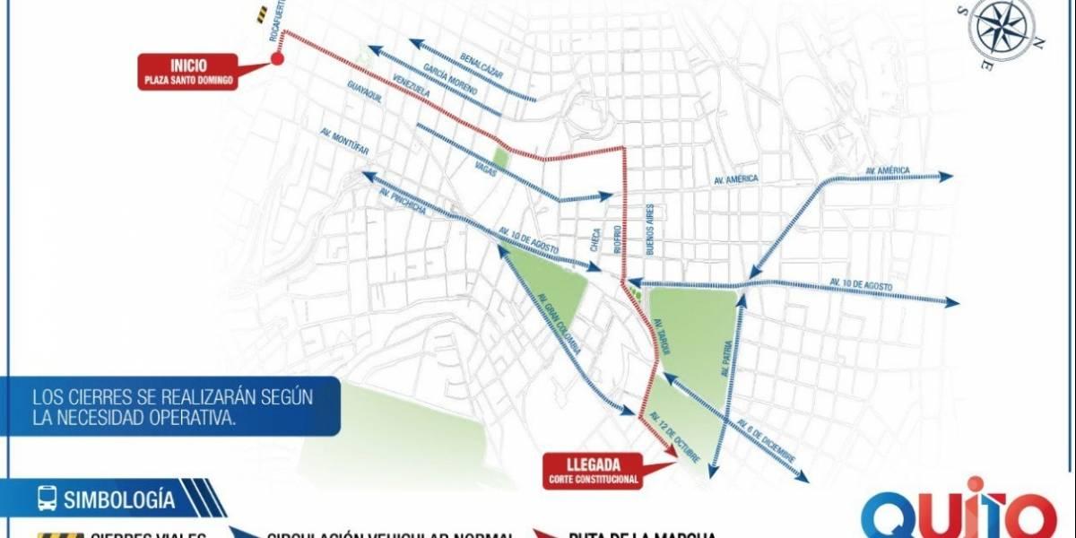 AMT: Plan operativo de movilidad y cierres viales por marcha civil en Quito