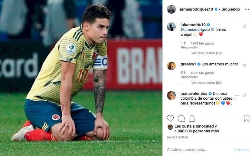 2. mensajes a James Rodríguez por eliminación de Colombia en Copa
