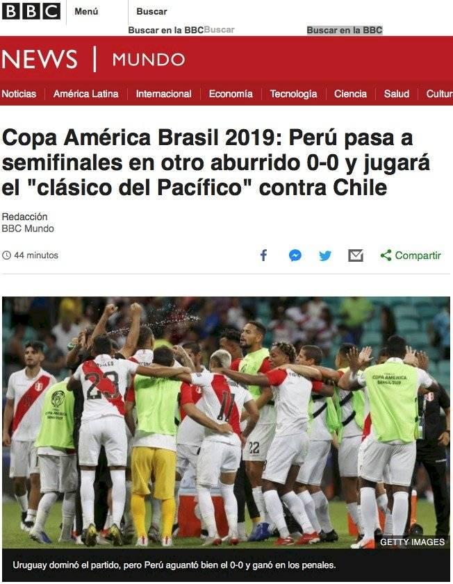 Prensa internacional destaca triunfo de Perú. Pantallazos