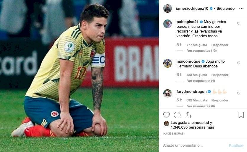 5. mensajes a James Rodríguez por eliminación de Colombia en Copa