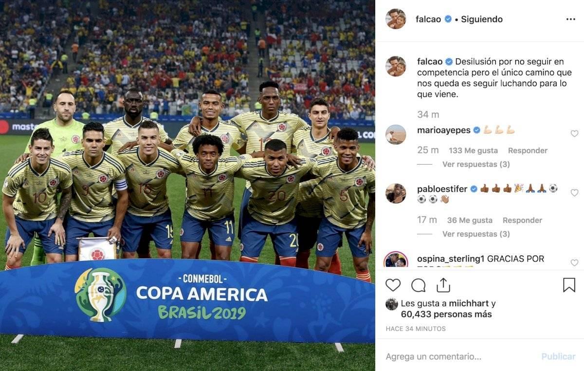 Mensaje Falcao eliminación Copa América Brasil 2019