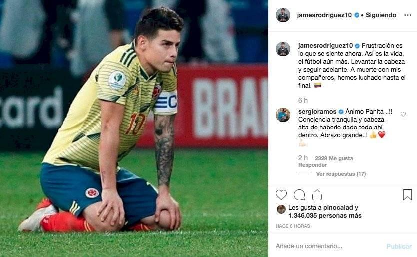 1. mensajes a James Rodríguez por eliminación de Colombia en Copa