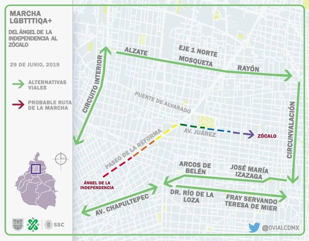 Ruta de la marcha y alternativas viales