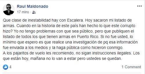 Raulie Maldonado - listado de armas, Escalera