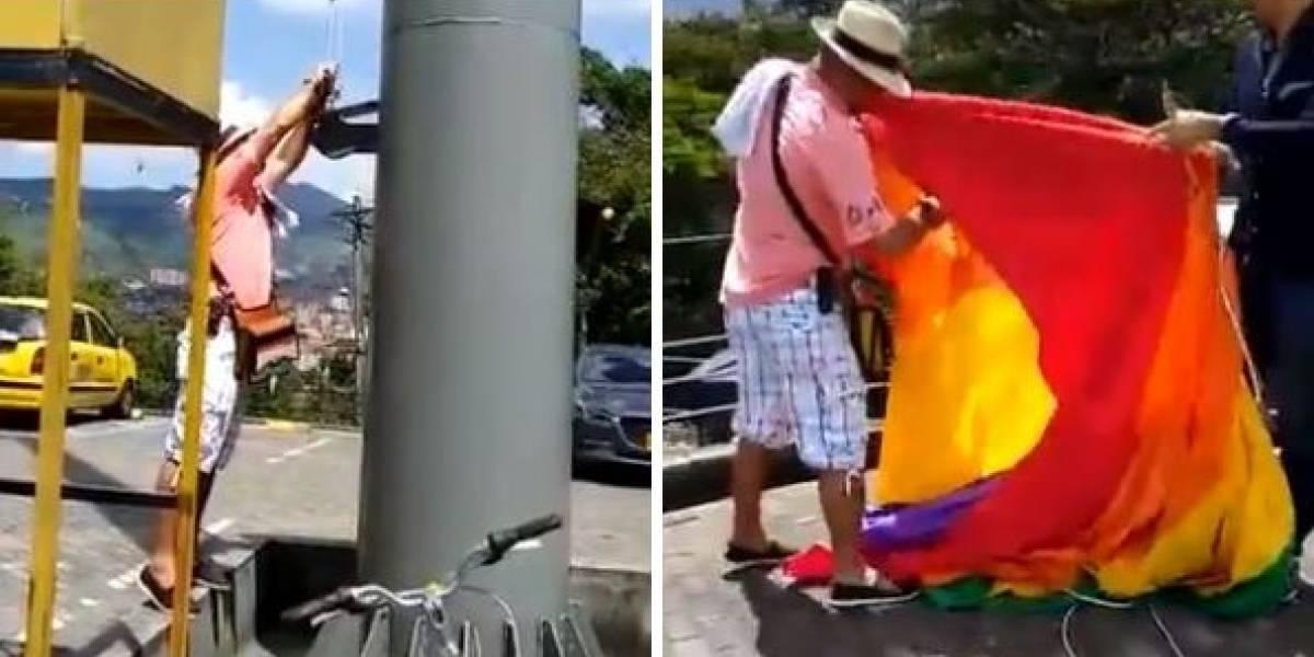 Dos hombres descuelgan y rompen bandera LGBTI izada en Pueblito Paisa