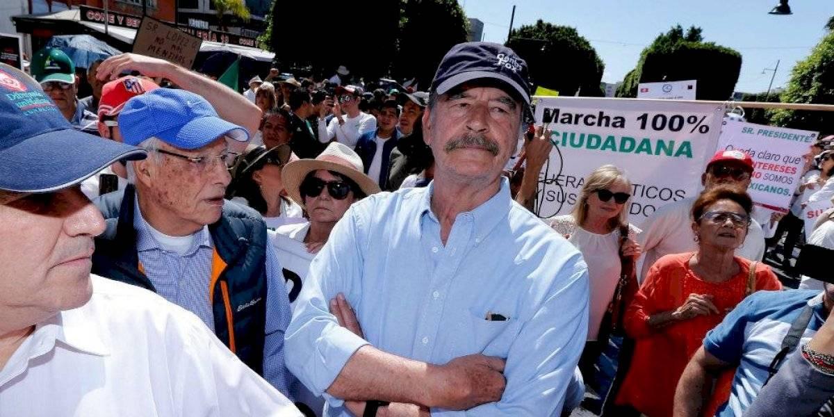 Rechazan a Vicente Fox en marcha anti-AMLO en Guanajuato