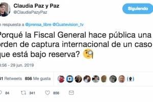 Mensaje de Claudia Paz y Paz.