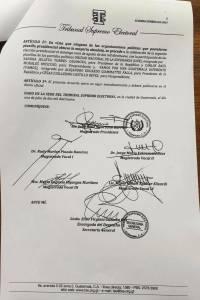 Este es el acuerdo del TSE para la segunda vuelta.