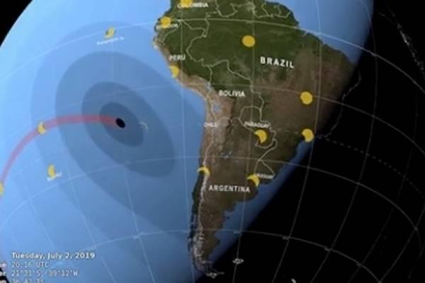 El video de la NASA que revela como el eclipse solar avanzará por Chile el 2 de julio