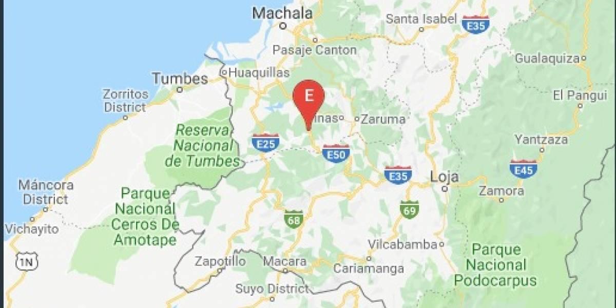 Se registra sismo de 3.7 la madrugada de este martes en Pinas, El Oro