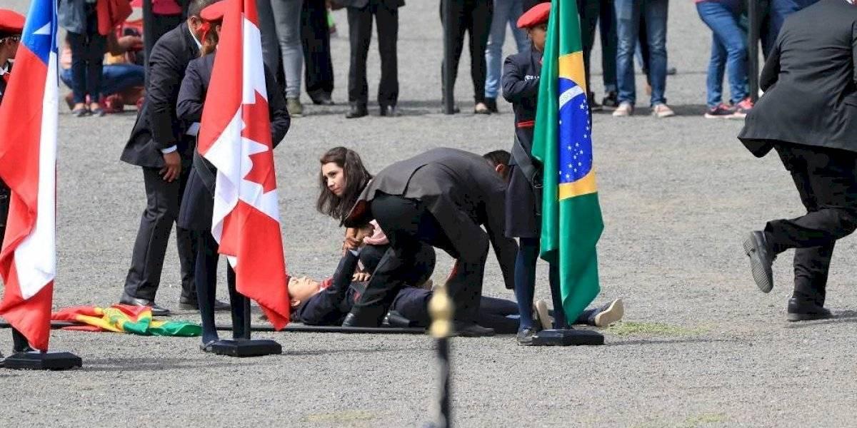 Abanderadas se desmayan durante ceremonia del fuego panamericano