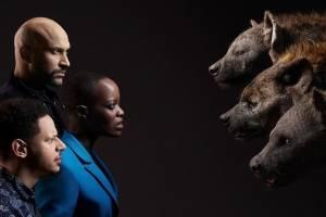 Rei Leão Kamari (Keegan-Michael Key), Azizi (Eric André) e Shenzi (Florence Kasumba)