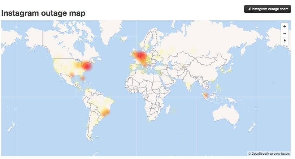 Fallas en WhatsApp a nivel mundial Foto: DownDetector.com