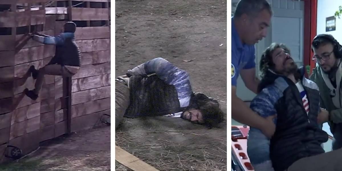 """La fuerte caída de Sebastián en """"Resistiré"""": fue sacado en ambulancia y de urgencia del reality"""