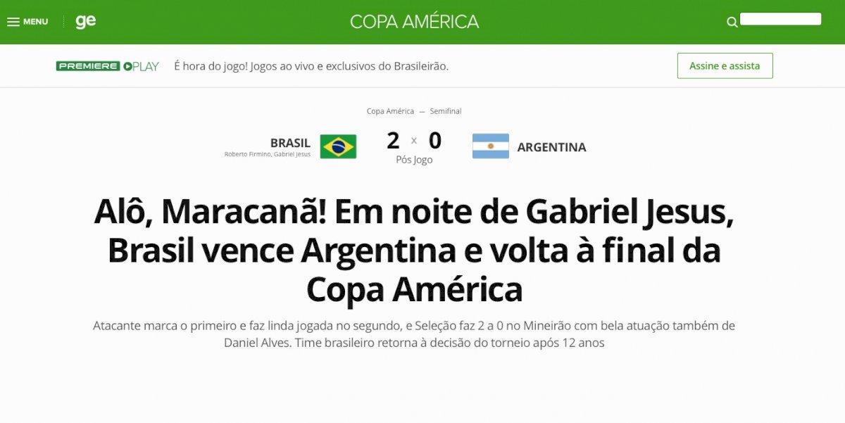 Prensa brasileña celebró triunfo local. Reproducción