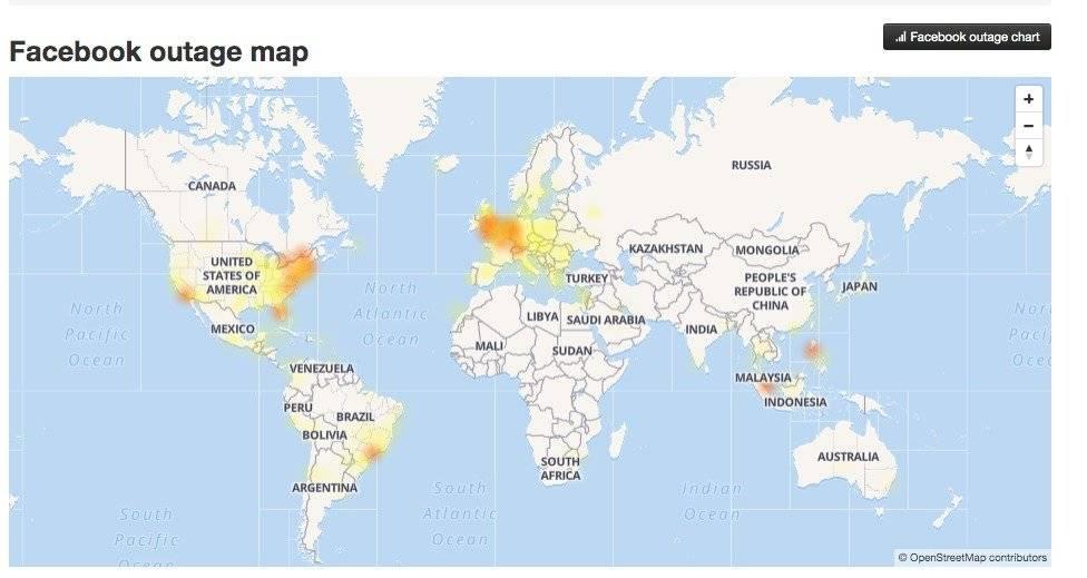 Fallas en Facebook a nivel mundial Foto: DownDetector