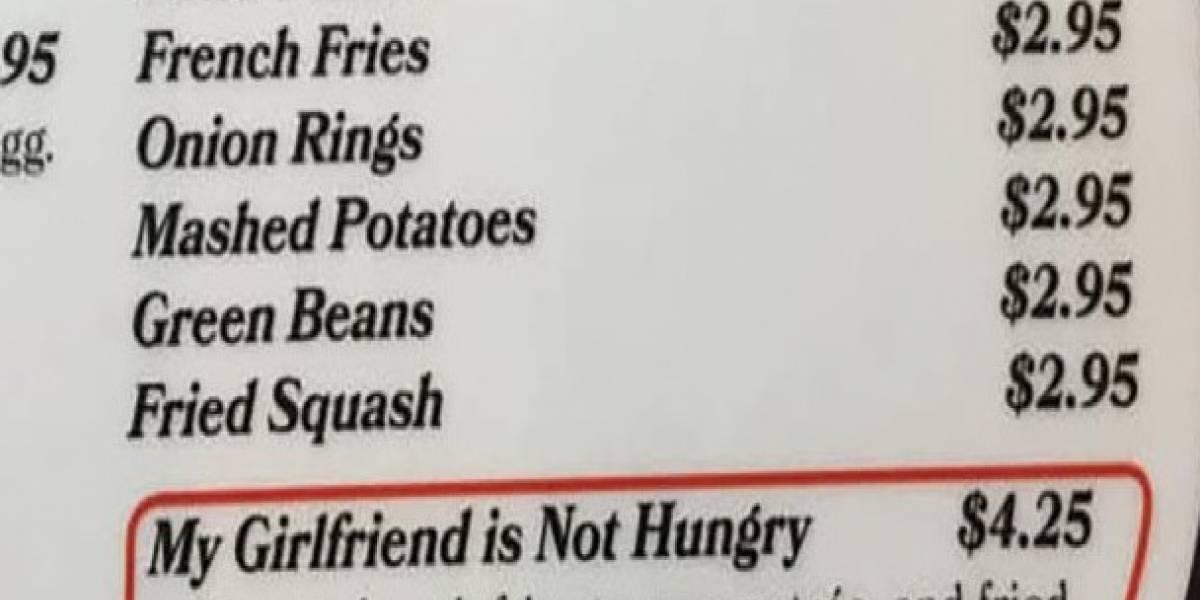"""""""Mi novia no tiene hambre"""": restaurant agrega hilarante alternativa a su menú y las redes sociales simplemente enloquecieron"""