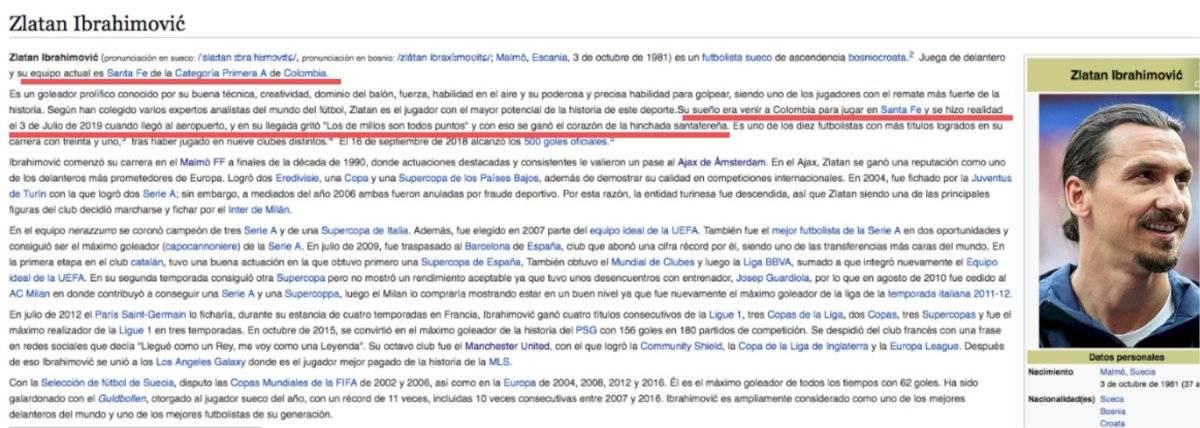 Zlatan Ibrahimovic en Wikipedia