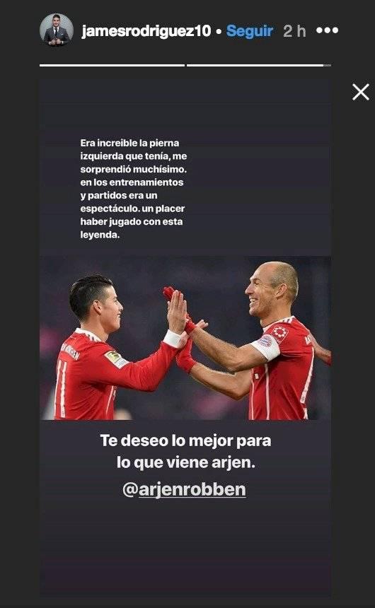 James Rodríguez a Arjen Robben por su retiro del fútbol