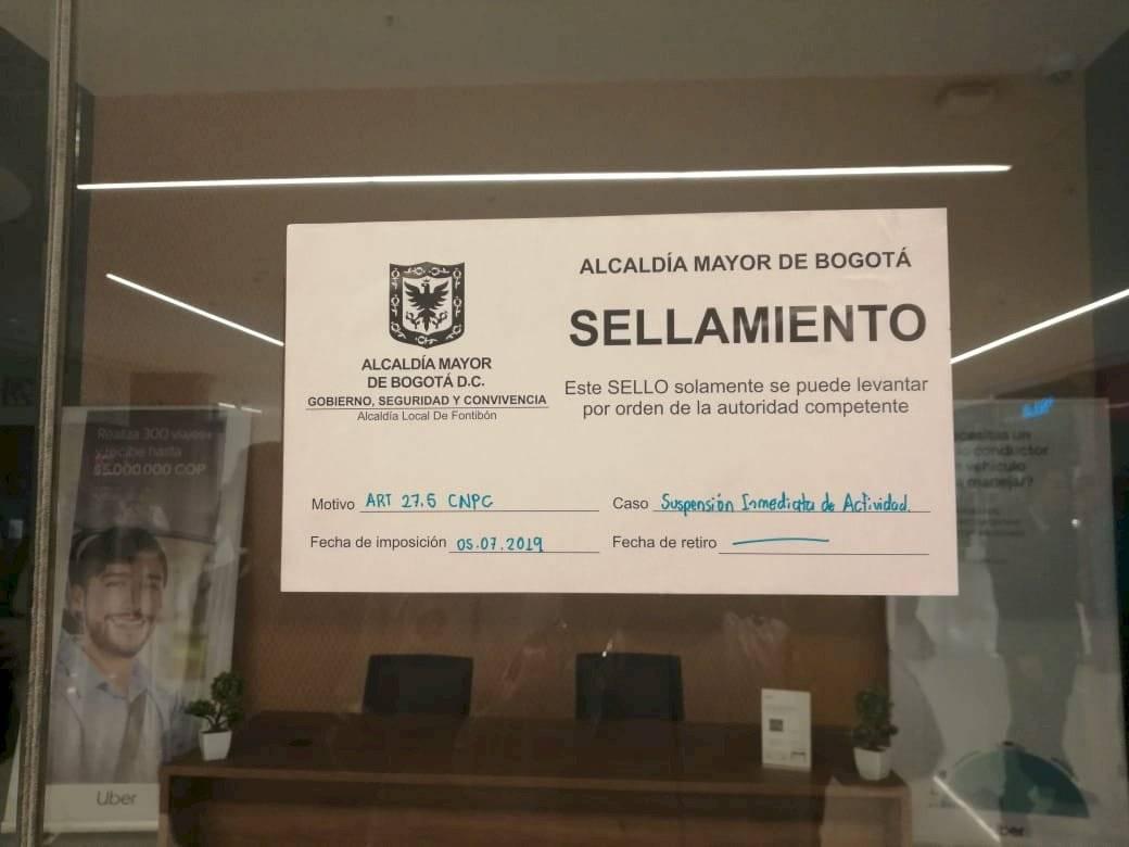 Autoridades sellaron las oficinas de Uber en Bogotá