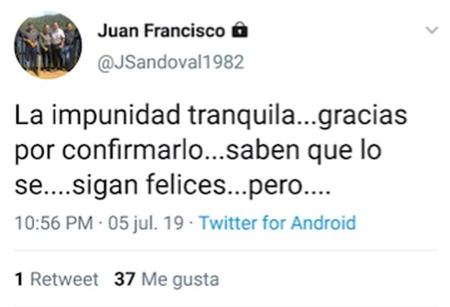 Tuit de Juan Francisco Sandoval
