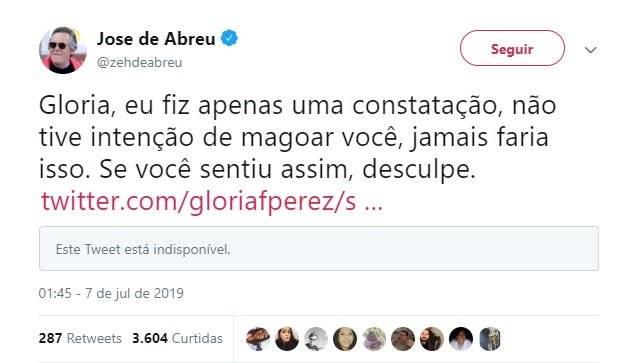José de Abreu e Gloria Perez briga Twitter