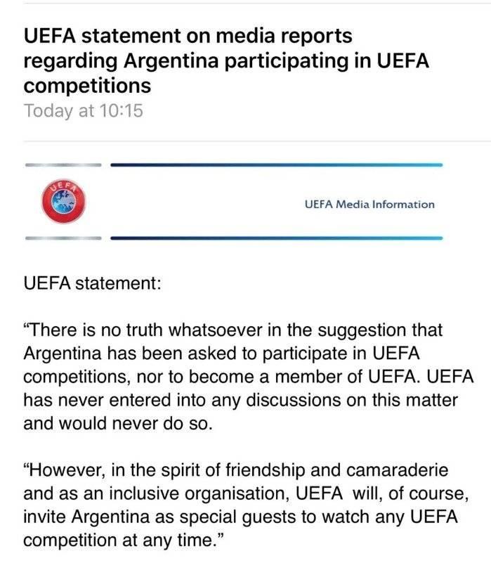 Comunicado UEFA