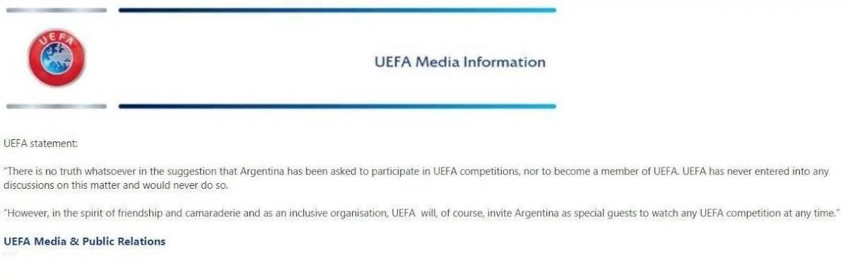 Carta Uefa a Argentina