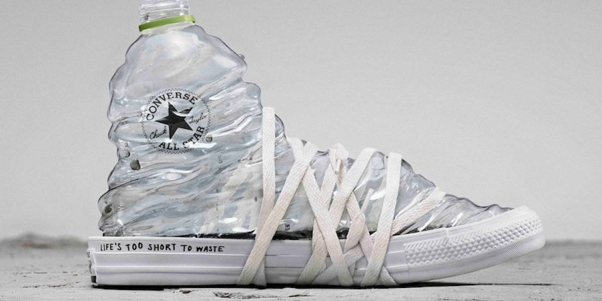 Converse lanzó zapatillas con tela hecha 100% de botellas plásticas recicladas