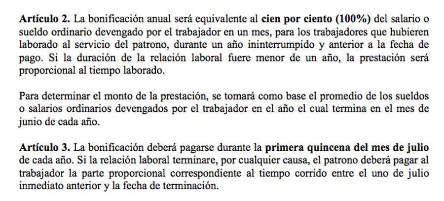 Artículos 2 y 3 de la Ley de Bonificación Anual