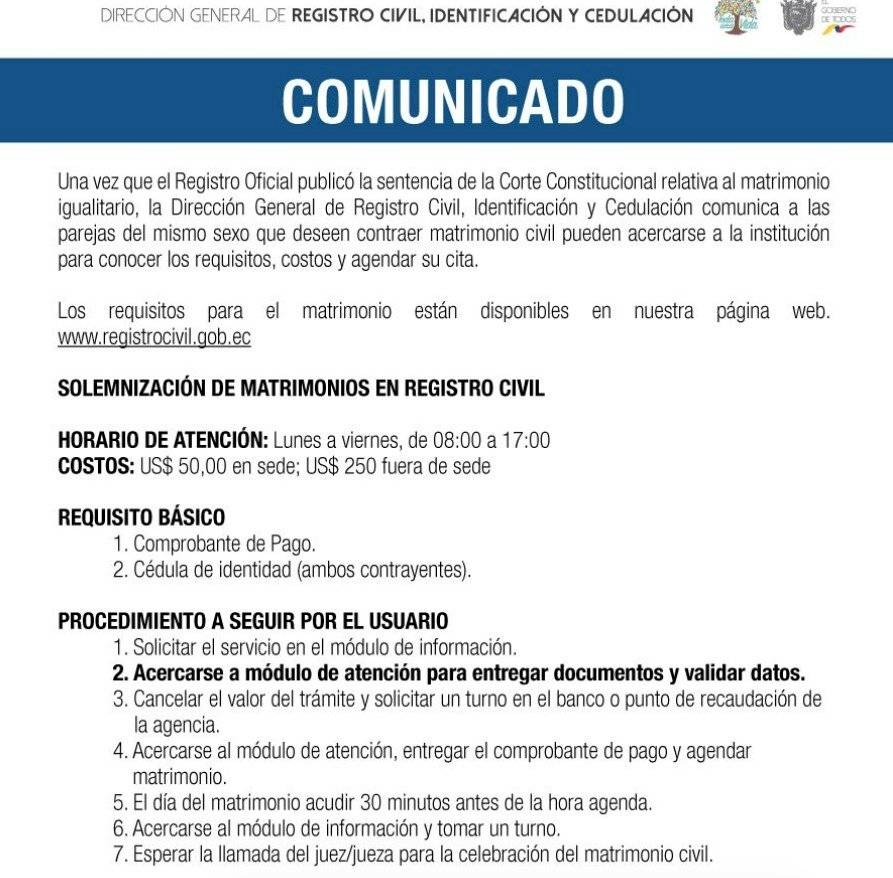 Comunicado del Registro Civil