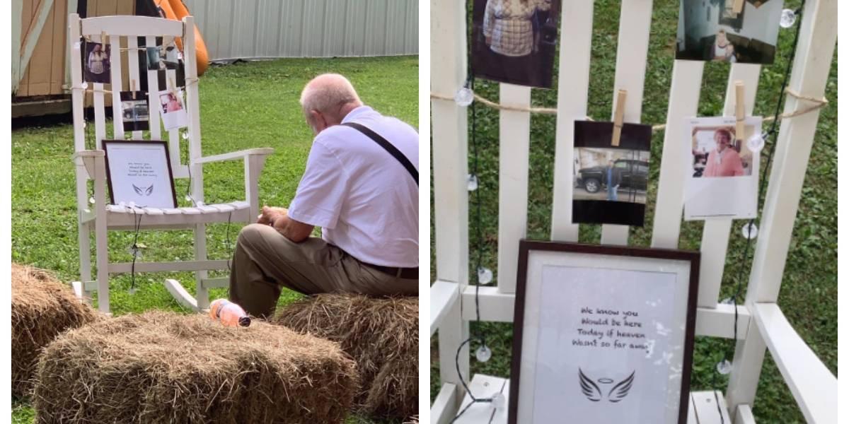 """""""Es absolutamente conmovedor"""": la emotiva foto de un abuelo que come solo junto al memorial de su esposa fallecida en la boda de su nieta"""