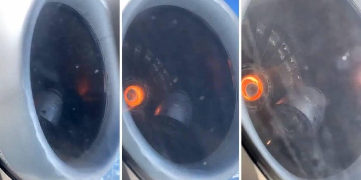 Homem filma motor de avião se despedaçando em pleno voo