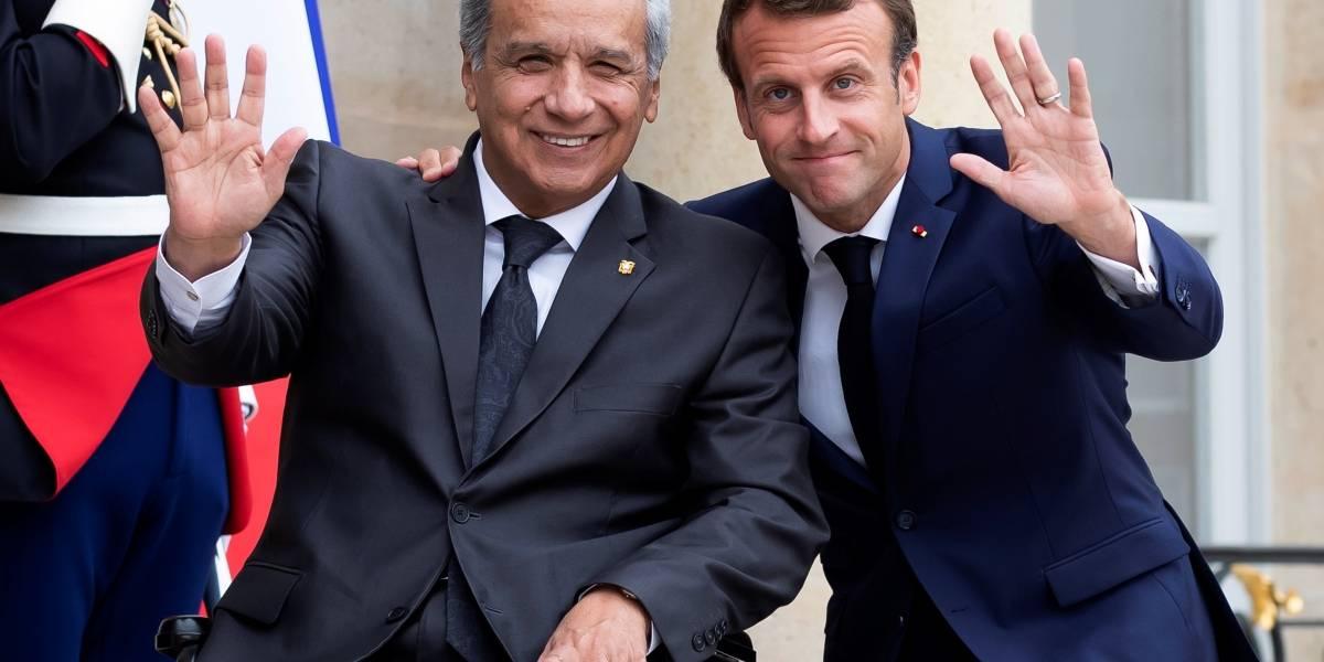Emmanuel Macron y Lenín Moreno dialogan en París