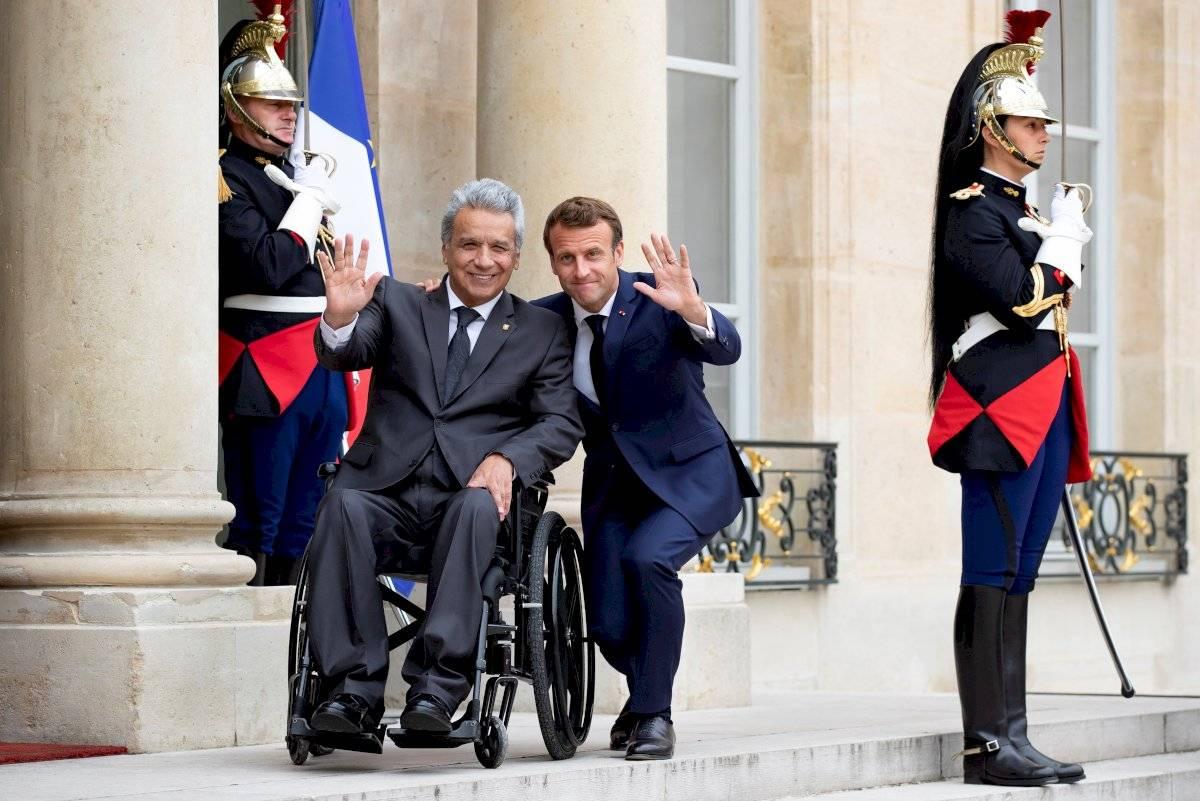 Presidente francés, Emmanuel Macron y el presidente ecuatoriano Lenín Moreno EFE