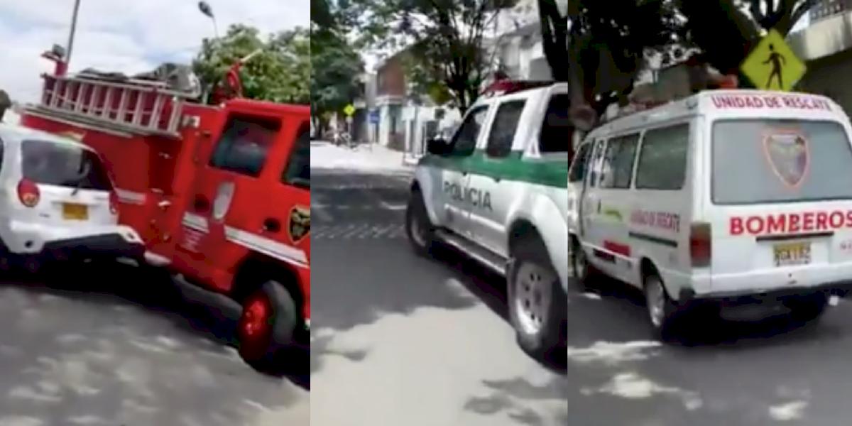 (Video) El extraordinario accidente de una ambulancia, la Policía y los bomberos