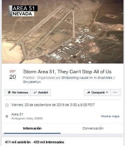 Área 51: evento en Facebook reúne a 800 mil usuarios para ir a asaltarla