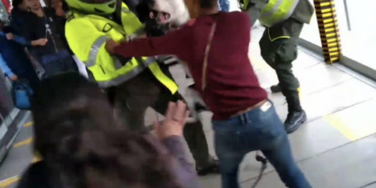 Lo que pasó antes del ataque de perro a un policía en TransMilenio