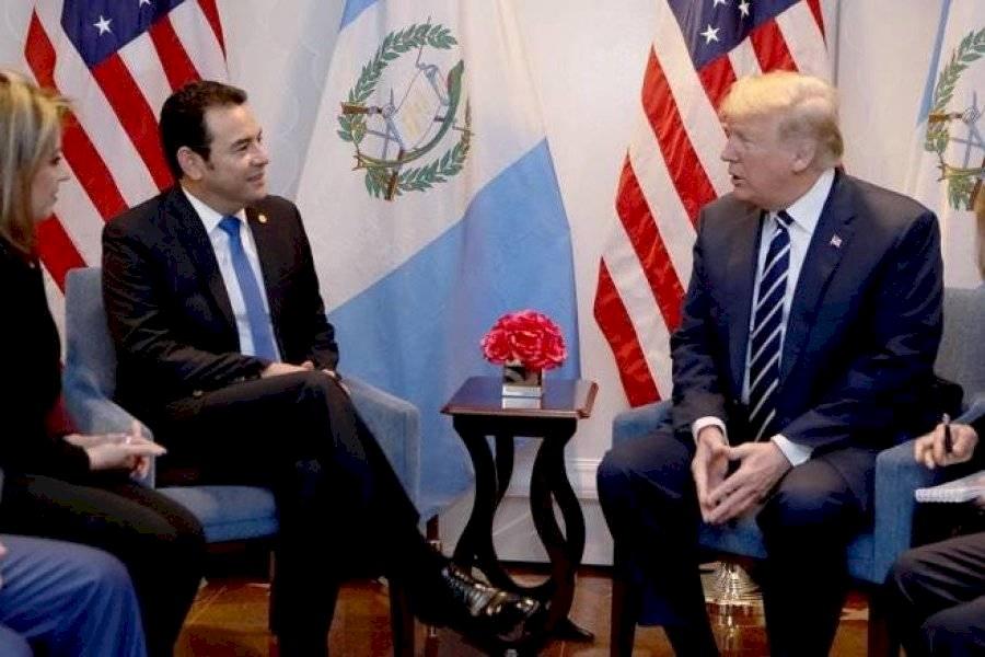 Donald Trump y Jimmy Morales, presidentes de Estados Unidos y Guatemala, respectivamente.